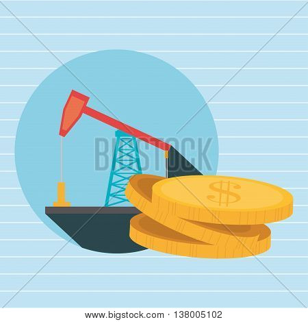 derrick and currency isolated icon design, vector illustration  graphic