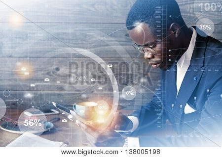 Double Exposure Of African American Entrepreneur In Formal Wear Checking E-mail Or Texting A Message