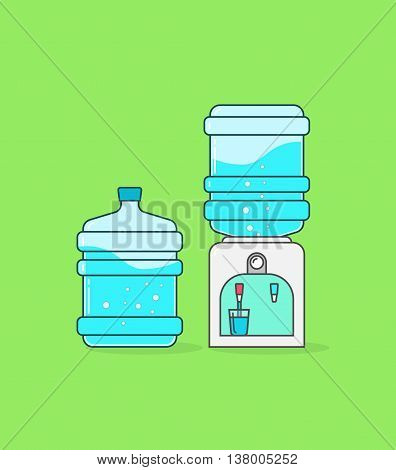 Water cooler dispenser vector illustration, outline linear color full concept, flat icon shape, bottle of water with waves and bubbles, hot water flowing in glass cup, modern design pictogram isolated