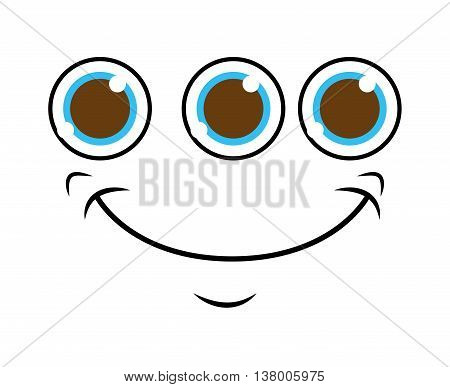 monster face with 3 eyes isolated icon design, vector illustration  graphic
