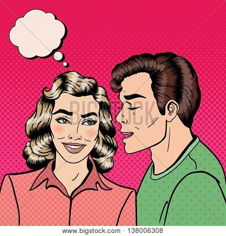 Man Whispering Secret to his Girlfriend. Happy Couple. Pop Art. Vector illustration