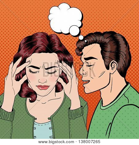 Man Whispering Something to his Stressed Girlfriend. Pop Art. Vector illustration
