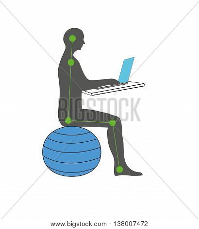 correct posture sitting on a fitness ball with computer. vector illustration.