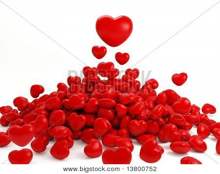 3d Render Of Many Isolated Red Heart