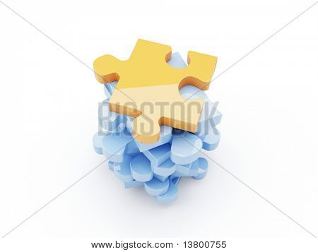 3d render of isolated puzzle