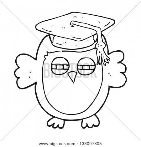 freehand drawn black and white cartoon clever owl