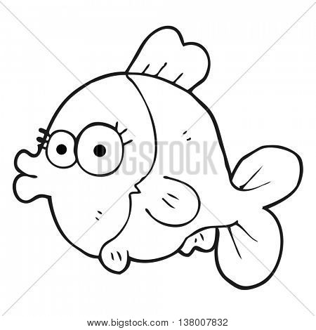 funny freehand drawn black and white cartoon fish with big pretty eyes