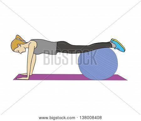Woman doing exercise on a fitness ball. gymnastics. vector illustration