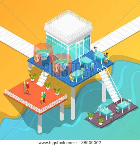 Beach Restaurant on the Coast of the Sea with People. Isometric Building. Vector illustration