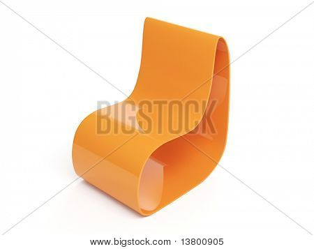 3d Render Of Modern Orange Armchair Over White Background