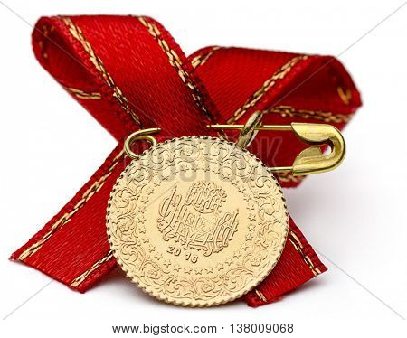 Quarter Turkish Gold Coin with Ribbon
