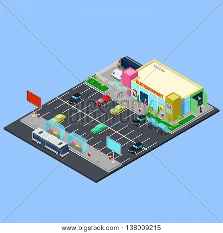 Isometric City. Supermarket Building with Parking Area, Bus Stop and Bicycle Places. Vector illustration