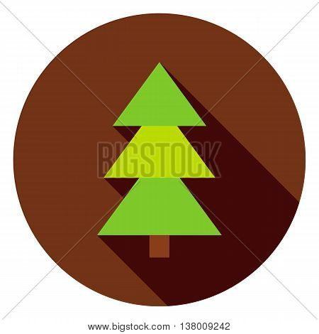 Coniferous Christmas Tree Circle Icon. Flat Design Vector Illustration with Long Shadow. Nature Plant Symbol.