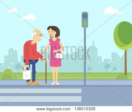 Smiling woman takes care of old man to help him cross the road in the city on the green traffic light. Flat illustration of elderly people assistance and support outdoors