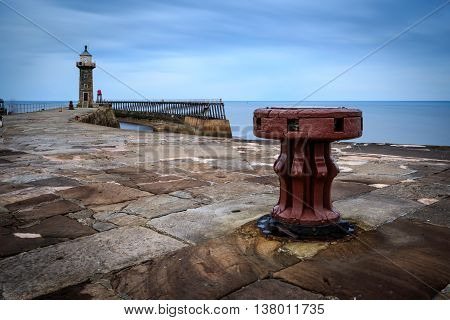 Long exposure of Whitby Pier Whitby North Yorkshire UK.