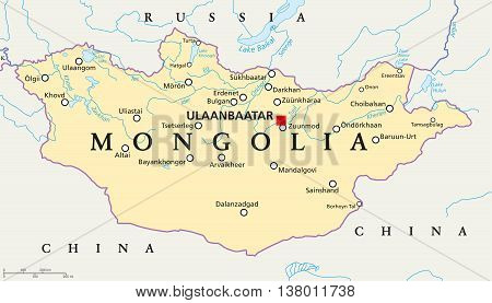 Mongolia political map with capital Ulaanbaatar, national borders, important cities, rivers and lakes. Landlocked sovereign state in East Asia, bordered to China and Russia. English labeling.
