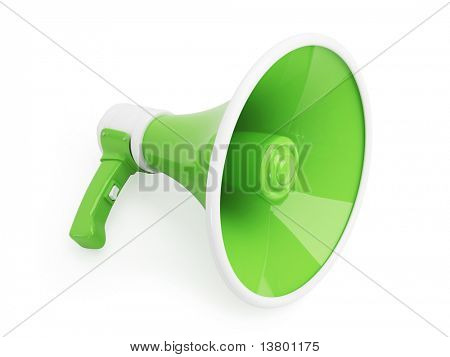 Green Megaphone Isolated on White Background, 3d Illustration