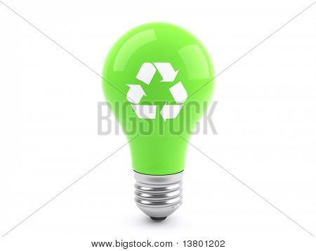 3d Recycling Green Lightbulb, ecology concept