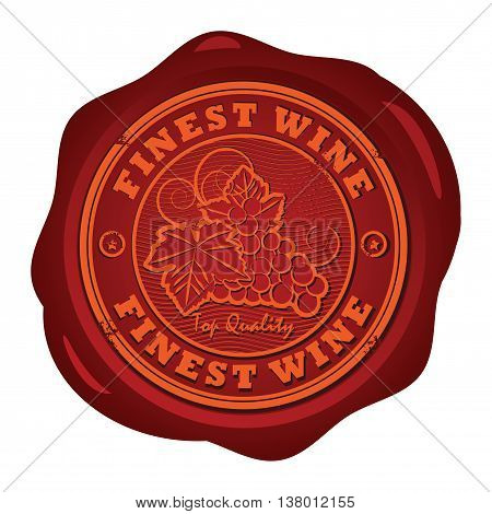 Wax seal with the words Fines Wine, vector illustration