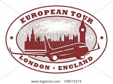 Grunge rubber stamp with words European Tour, London, England inside, vector illustration