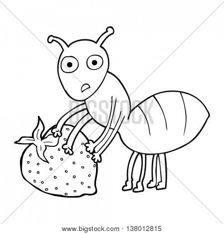 freehand drawn black and white cartoon ant with berry
