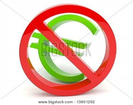 3d forbidden sign with euro