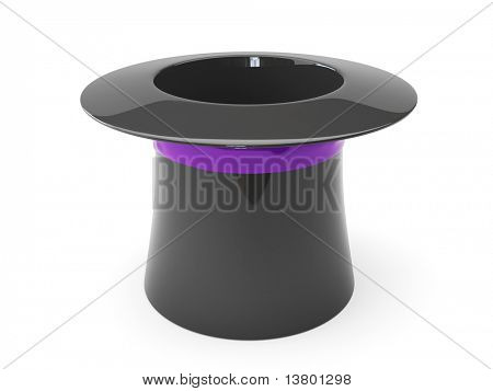 3d magic hat isolated on the white background