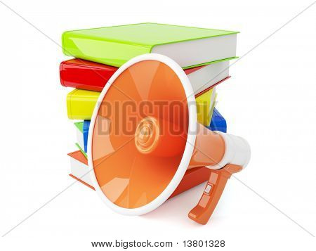 3d bullhorn with pile of books isolated on the white background