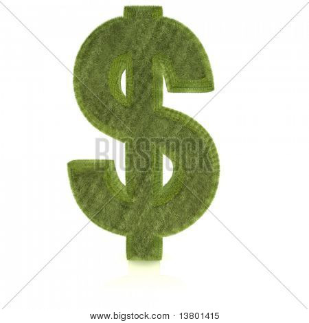 3D Dollar symbol in grass texture ? isolated over a white background