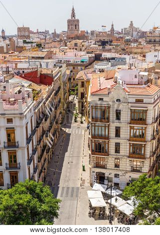 Valencia -june 24: Valencia Cityyscape View Fron Seranos Tower On June 24 2016 In Valencia, Spain. T