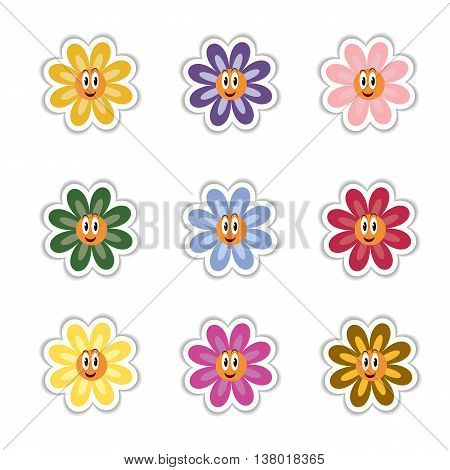Fully vector set of flowers stickers with various colors