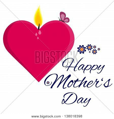 Fully vector Happy mother's day card with candle heart