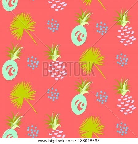 Pineapple abstract exotic coral vector seamless background. Textile fabric green mint ananas pattern. Apparel and linen design.