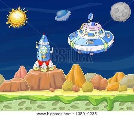 Cartoon fantastic landscape with spaceship vector illustration for game design.