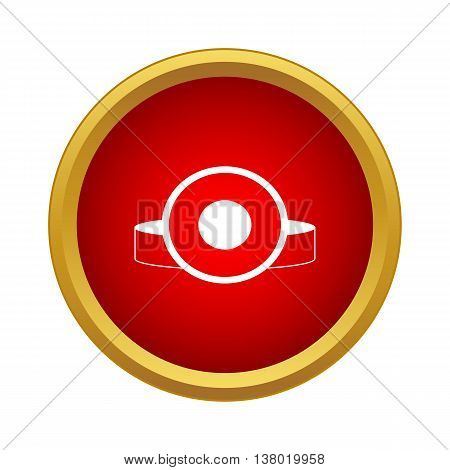 Head flashlight icon in simple style in red circle. Lighting symbol