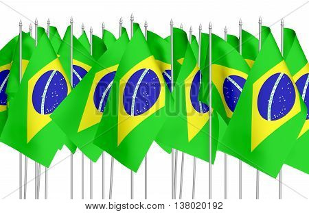 Many Small Brazilian Flags In Row Isolated