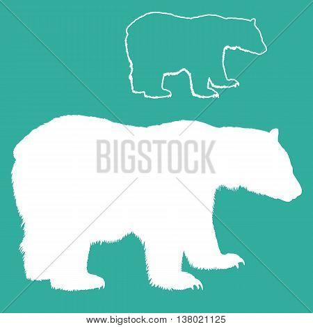 white polar bear vector illustration silhouette set