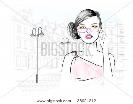 Beautiful woman in the glasses - vector illustration