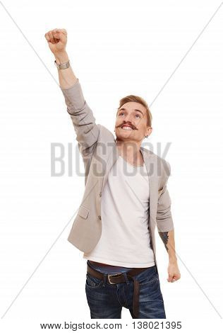 Man in superhero pose doing fly gesture. Young man shows flying pose isolated at white background, achievment, success and power, strong guy concept.