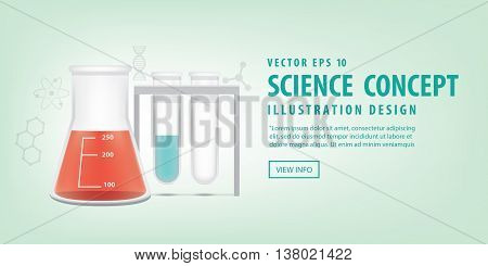 Banner Chemical Conical Flask And Test Tube Vector. Education And Science And Medical Concept.