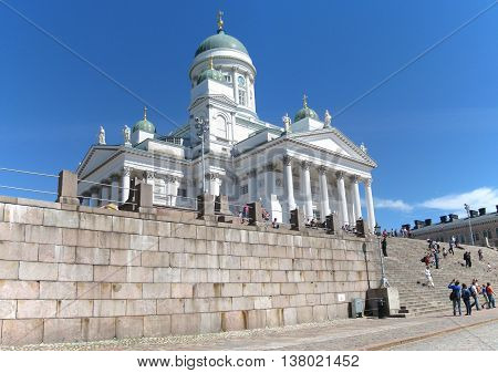 The white Lutheran Cathedral is a landmark of Helsinki, Finland, located on the Senate Square.