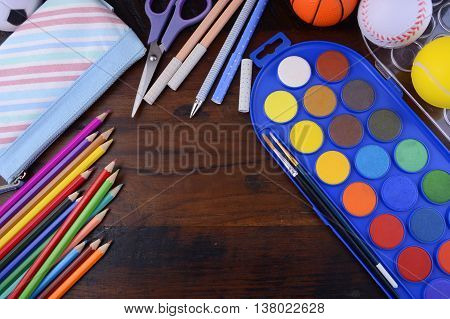 Back To School With Coloring Pencils Paints.