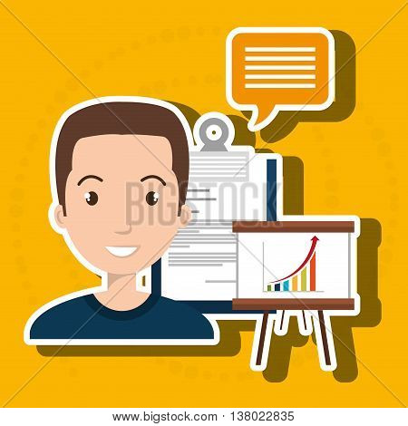 man with graphic and papers isolated icon design, vector illustration  graphic