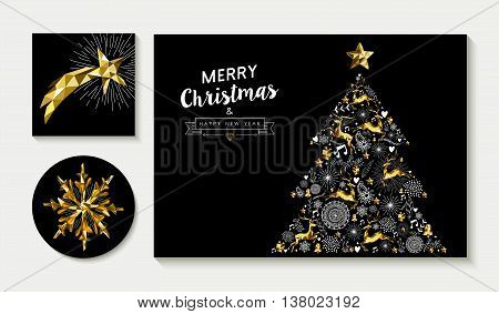 Gold Christmas Pine Tree Card Design Template Set