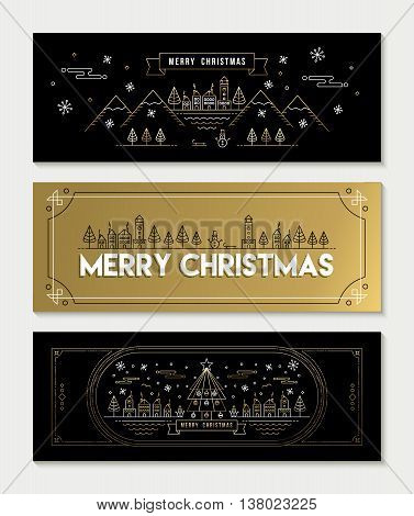 Gold Line Art Christmas Banner Template Set