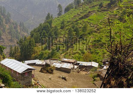 Mountain village Odar on route Annapurna Cirquit Track