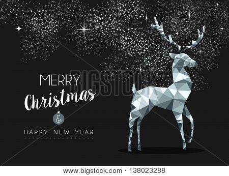 Silver Greeting Card For Christmas With Deer