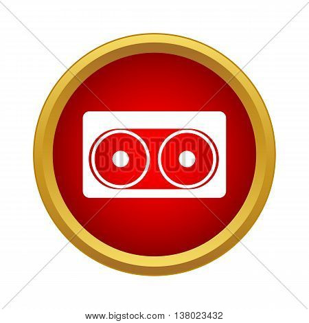 Audio cassette icon in simple style in red circle. Music symbol