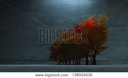 Autumnal Trees 3D Render