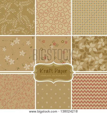 Kraft paper vector seamless patterns. Can be used for wallpaper and textile design, pattern fills, website backgrounds, surface textures and book design.